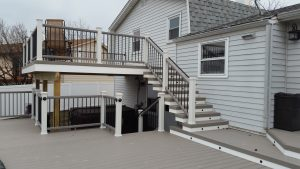 Composite Decking And Railing With Step And Rail Lighting