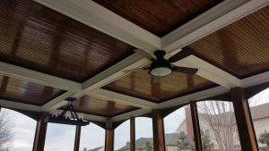 coffered ceiling, lights and fan for 3 season room